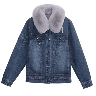 牛仔外套女加絨棉衣2020冬季新款潮ins超火羊羔毛短款bf加厚棉服
