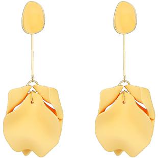 ZENGLIU黃色花瓣耳環女氣質2020新款潮時尚耳釘百搭長款耳墜耳飾