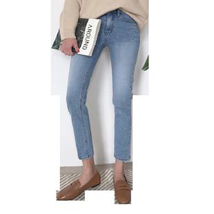 加絨高腰直筒牛仔褲女秋冬新款顯瘦淺藍色彈力小個子九分煙管褲女