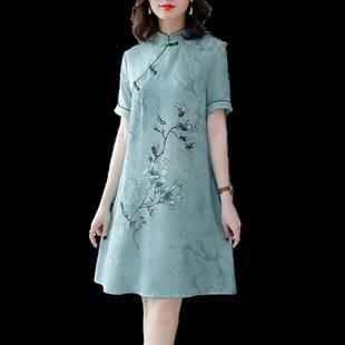 2020年新款春夏季連衣裙高貴顯瘦旗袍漢服改良版古風連衣裙子女夏