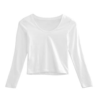 長袖短款t恤純棉高腰緊身白色打底衫女 春裝修身顯瘦內搭露臍上衣