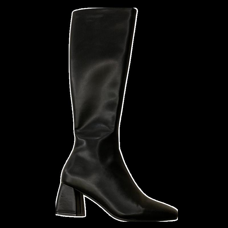高跟长筒靴女2020年新款米白色不过膝显瘦瘦版长靴秋冬季加绒秋鞋