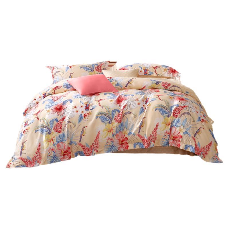 富安娜家纺床上四件套全棉磨毛被套床单纯棉冬季保暖加厚床上用品