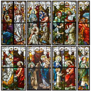 歐式教堂玻璃貼紙教堂人物復古玻璃陽台窗户帶膠磨砂貼紙彩色窗花