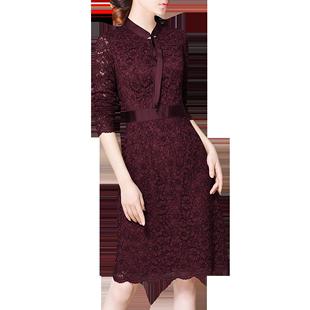 2020秋冬裝新品酒紅優雅領結蕾絲修身氣質顯瘦長袖連衣裙E58