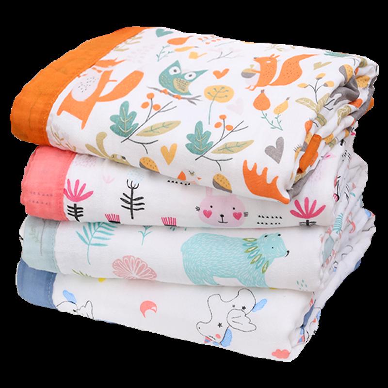 婴儿浴巾纯棉纱布宽边宝宝竹棉盖毯婴幼儿洗澡超柔吸水秋冬款加厚