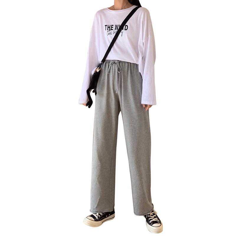 灰色运动裤女宽松直筒高腰垂感秋冬季新款加绒显瘦百搭休闲阔腿裤