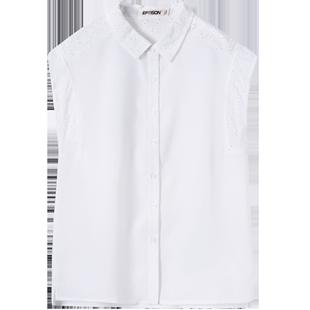 衣品天成清倉無袖襯衫女夏新款白色學生寬鬆百搭休閒韓版襯衣