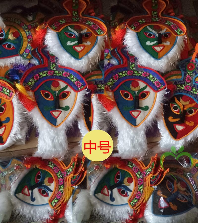 西藏特色手工艺脸谱藏族特色藏式挂饰 藏戏布艺西藏面具中号