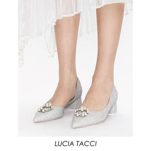 河岸家買手店設計師LUCIA TACCI閃銀條紋珍珠扣側空尖頭粗跟女鞋