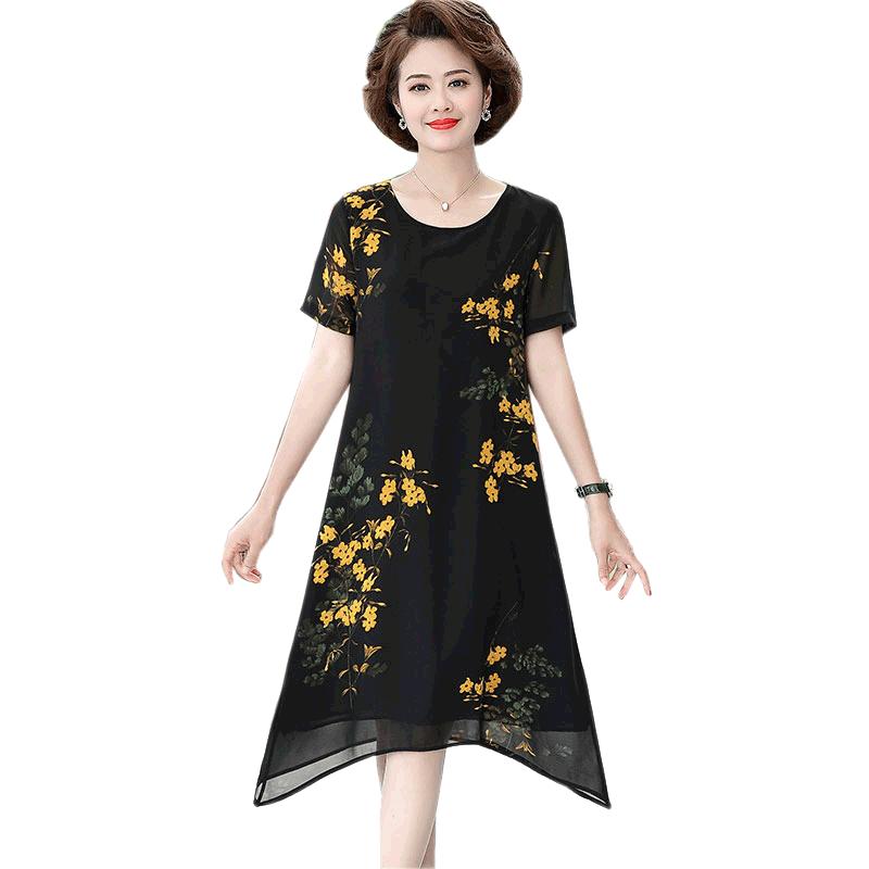 中年女装夏装长裙显瘦遮肚子妇女大码连衣裙洋气妈妈减龄裙子雪纺