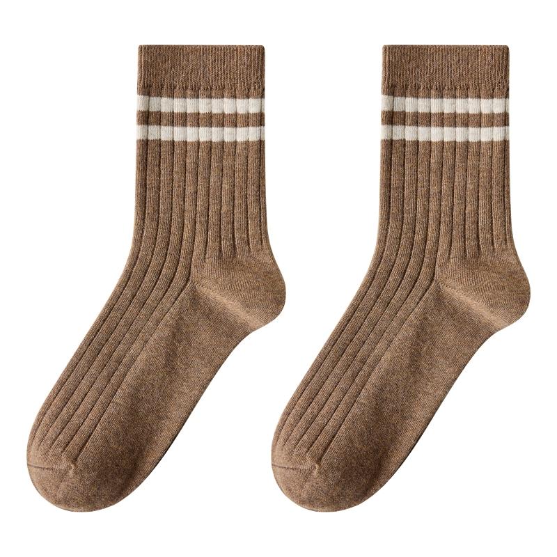 caramella袜子男纯棉中筒袜男士长袜秋冬全棉运动袜春秋黑色袜子