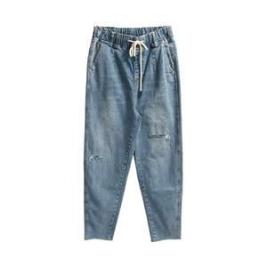 破洞2021年新款夏天高腰直筒牛仔裤