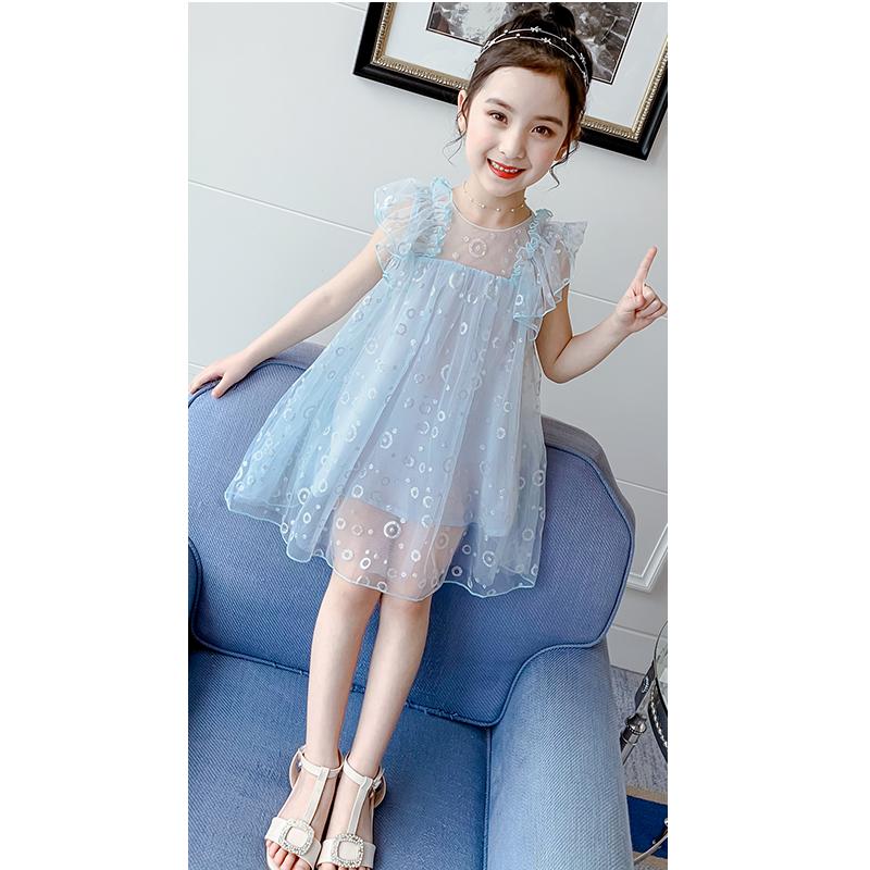 女童連衣裙夏裝2020新款大童裝超洋氣小女孩公主裙蓬蓬紗兒童裙子