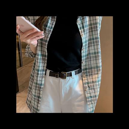 秋装新款复古港味格子薄款宽松衬衫