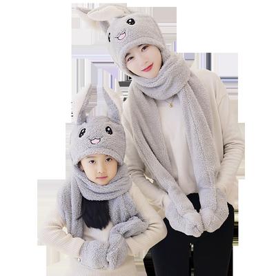 儿童耳朵会动的帽子围巾手套三件套秋冬男女童宝宝保暖学生围脖帽