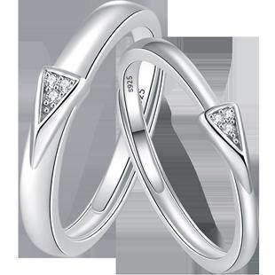 ARAI原創設計情侶戒指一對純銀小眾ins對戒簡約男女開口食指戒指