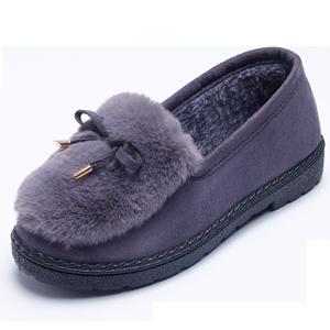 冬季毛毛鞋棉鞋2018新款街拍百搭兔毛女靴子休闲女鞋加绒保暖棉靴