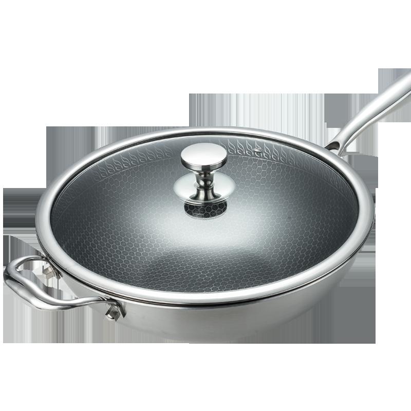 德国品质304不锈钢炒锅不粘锅家用无油烟炒菜锅电磁炉燃气适用