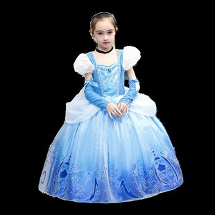 灰姑娘連衣裙白雪公主裙子藍色冰雪奇緣兒童聖誕節日禮物生日禮服