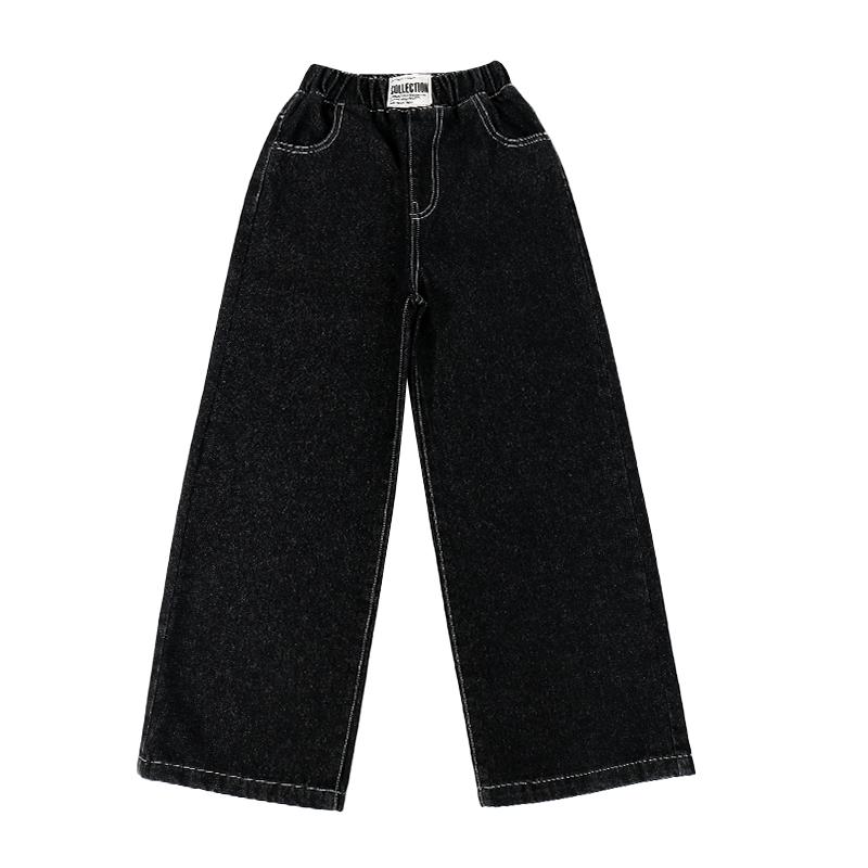 女童牛仔裤春秋阔腿裤2021新款秋装外穿儿童秋款裤子大童女孩裤女