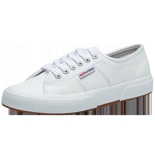 SUPERGA女鞋牛皮時尚基礎小白鞋S009VH0透氣低幫鞋板鞋運動鞋