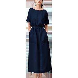 卓芙莱短袖连衣裙女2020新款夏季圆领纯色收腰显瘦气质大码长裙子