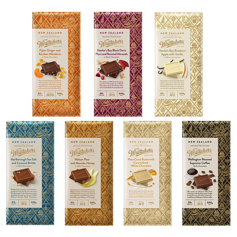 新西兰原装进口Whittaker's惠特克水果坚果巧克力大板块薄片100g