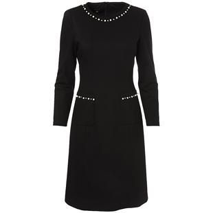 YINER音兒outlets 2020春季新款通勤釘珠裝飾拼接收腰連衣裙
