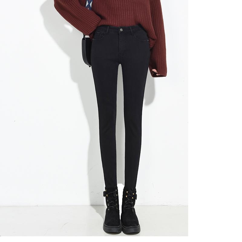 韩版加绒显瘦高腰紧身小脚裤