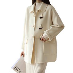 2019秋冬新款短款雙面毛呢外套牛角扣大衣女小個子學生學院風D515