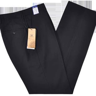 中年男士西褲高腰寬鬆冬季厚款中老年商務西裝褲直筒爸爸褲子加肥
