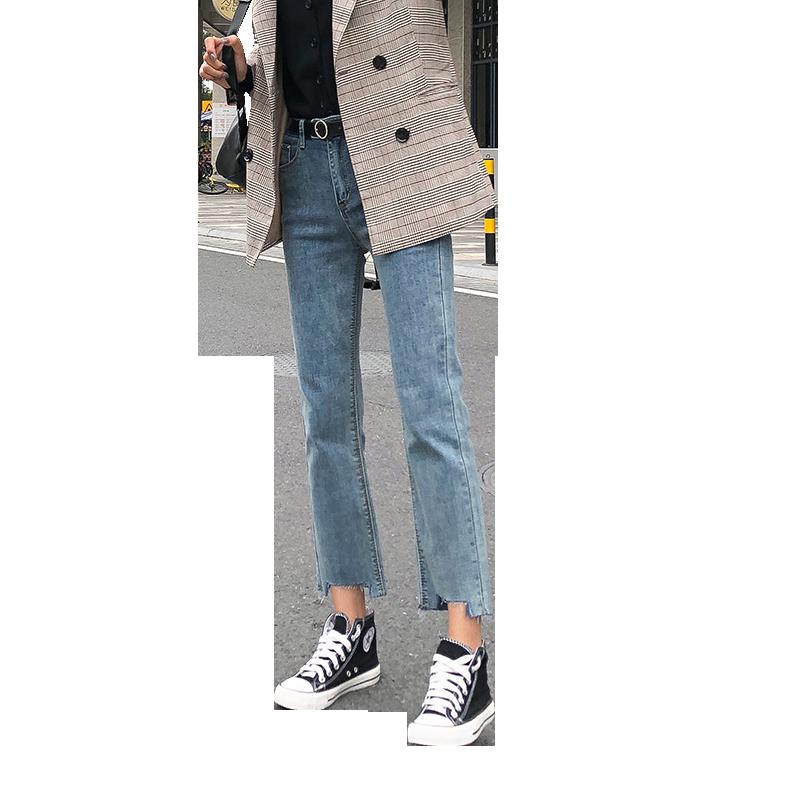 牛仔裤女2019春装新款高腰宽松阔腿显瘦百搭学生九分cec直筒裤子