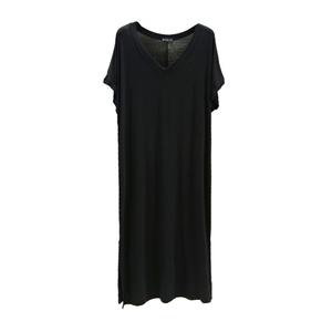 莫代尔女短袖开叉夏季纯色连衣裙