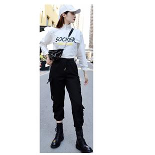 2020秋冬新款套裝女短款衞衣字母印花高腰顯瘦工裝運動風帥氣長褲