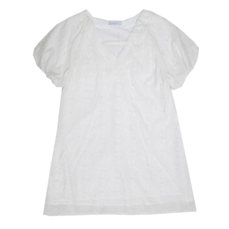 EVNSTYLE1号店 微甜系~银丝提花格纹白色V领连衣裙女泡泡袖A字裙