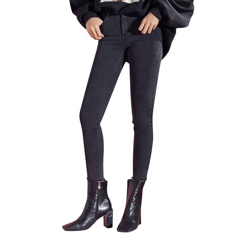 sp68烟灰色牛仔裤女春2019春款高腰韩版显瘦修身小脚裤弹力铅笔裤