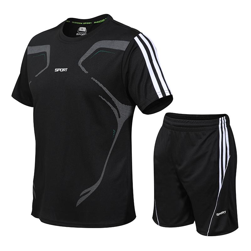 男士运动套装速干衣套装2019新款夏季休闲运动服两件套透气舒适