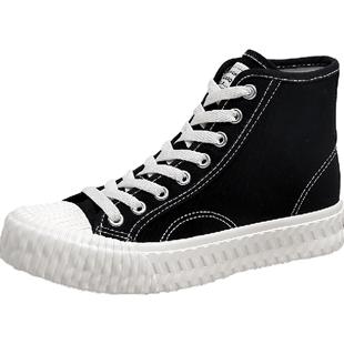 韓都衣舍女鞋高幫帆布鞋2020四季校園風學生鞋韓版潮流休閒帆布鞋