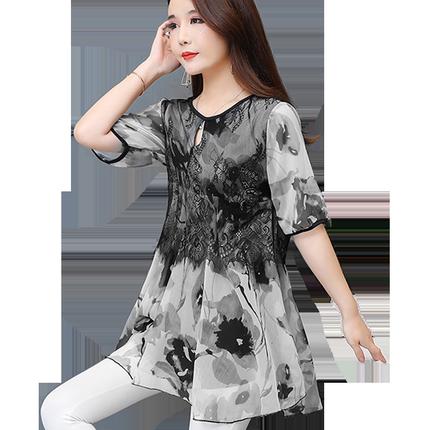2019新款女装夏蕾丝短袖遮肚子小衫