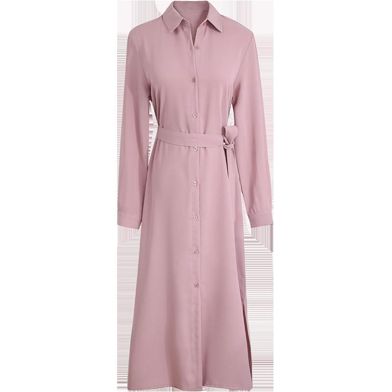 2019春装新款韩版女装长袖衬衫裙系带长款雪纺连衣裙春秋过膝长裙