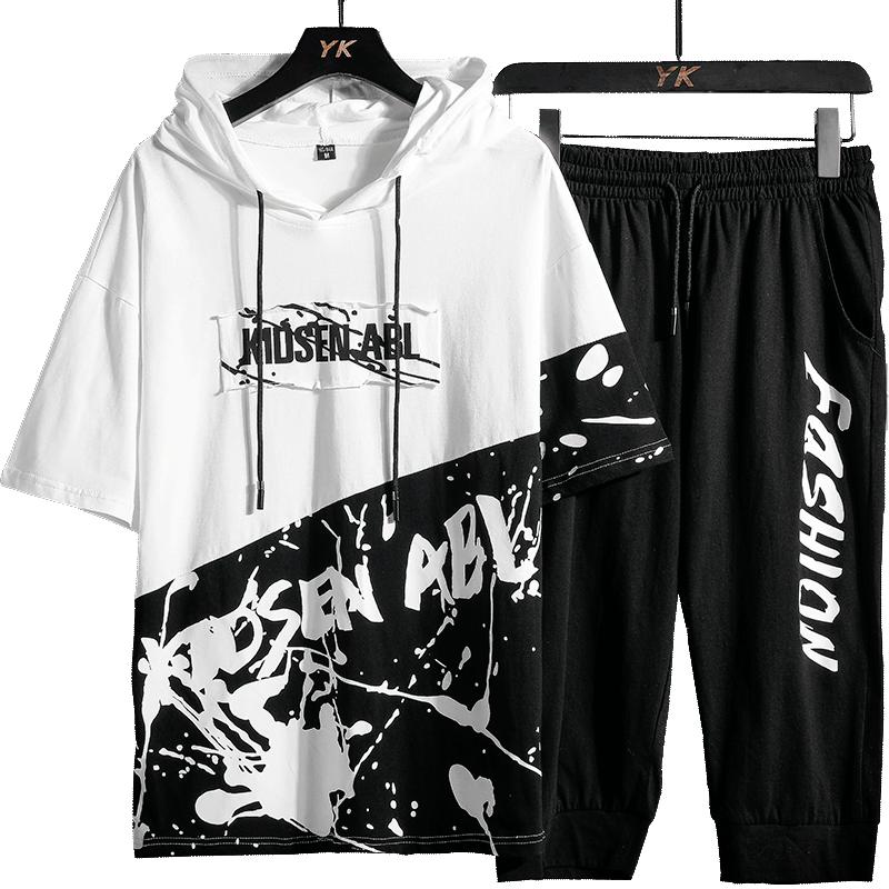 夏季休闲运动套装男士韩版潮流短袖卫衣潮牌搭配帅气街舞嘻哈T恤