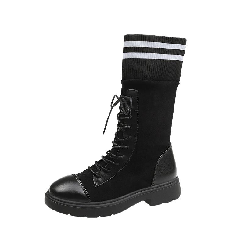 长靴女过膝2019新款秋季时尚ins百搭粗跟前系带机车高筒骑士靴潮