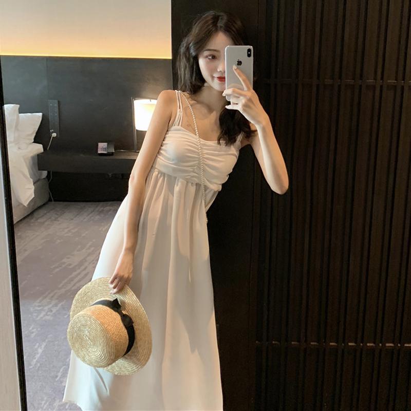 10月29日最新优惠气质温柔中长裙流行收腰白色仙女裙
