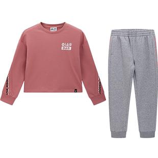 喬丹兒童套裝2020秋季新款女童運動中大童兒童兩件套長袖衞衣褲子