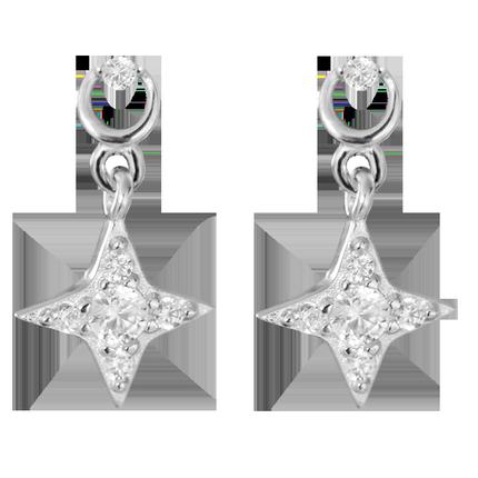 小麋人点睛十字星星亮晶晶纯银耳钉