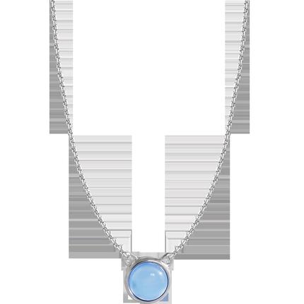 小麋人天鹅颈优雅水蓝气泡纯银项链