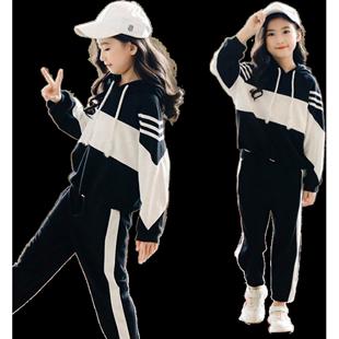 童裝女童春秋款運動套裝2020新款6時髦8女孩12歲洋氣兩件套中大童