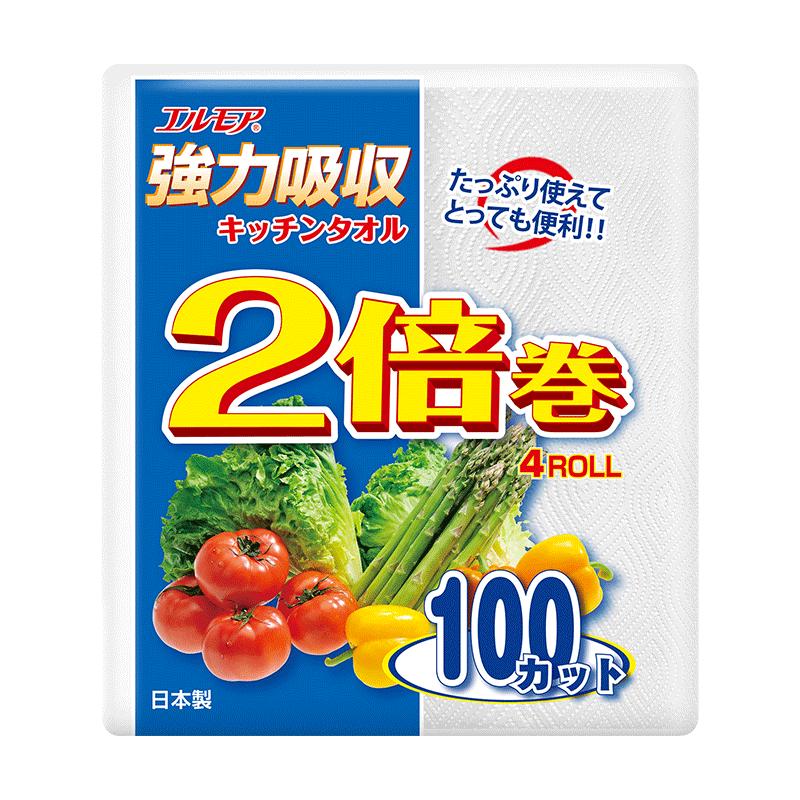 一级帮日本进口厨房卷纸厨房纸加厚专用纸巾卷纸擦油纸100张*4卷