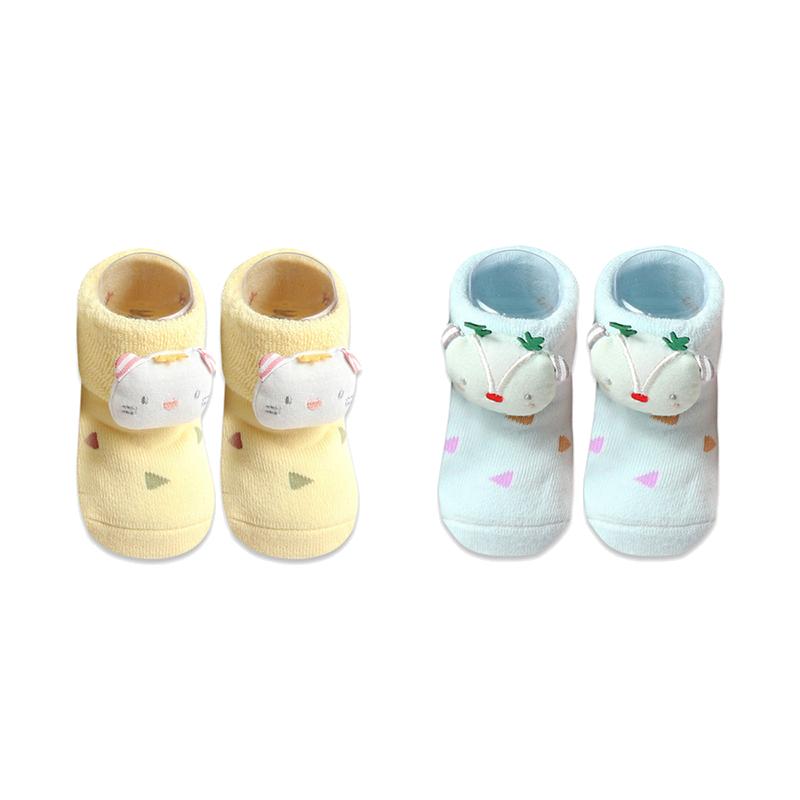 馨颂婴童地板袜两双装胶点防滑袜子婴儿袜宝宝学步秋冬袜子0-2岁